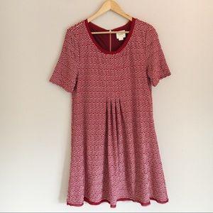 Anthropologie Maeve Red Dora Stretch Zig-Zag Dress
